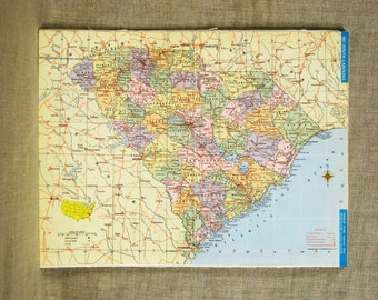 Vintage South Carolina, Eastern Pennsylvania Map, United States, Atlas, East Coast, Colorful, Typography, Palmetto State,Southeast,Geography