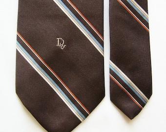 Vintage Christian Dior Necktie in Dark Brown w/ Multi-color Diagonal Stripes - Monogram Tie