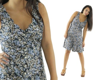 Vintage 90s Floral Romper Shorts Jumpsuit Playsuit Sleeveless Blue Black Mini Dress 1980s Ladies Medium M Large L