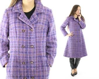 Vintage 60s 70s Plaid Tweed Coat Double Breasted Coat Lavender Purple Coat Wool Coat 1960s 1970s Winter Fashion Medium M