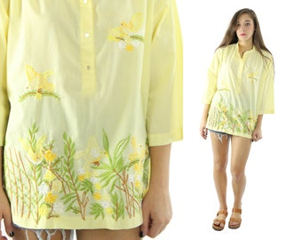 Vintage 70s Embroidered Tunic Blouse Caftan Shirt Yellow Top Hippie Boho Fashion 1970s Long Sleeve Shirt Medium M Bird Floral Embroidery