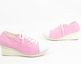 Vintage 80s Wedge Tennis Shoes Pink Canvas Converse Style Shoes Platform Shoes Lace Up Shoes 1980s Womens Footwear Sneakers Kicks 6