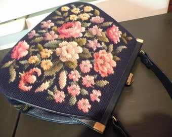 Vintage Navy Needle Point Purse with Colorful Roses Shabby