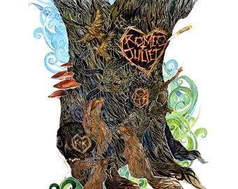 Romeo and Juliet -  art print of watercolor painting. Shakespeare, foxes, tree, graffiti