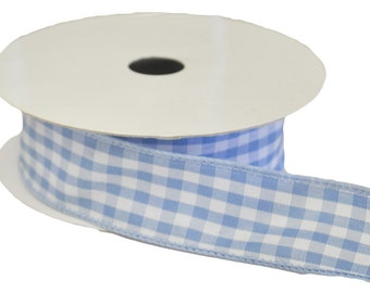 Offray/Lion Ribbon Wired Gingham - Blue