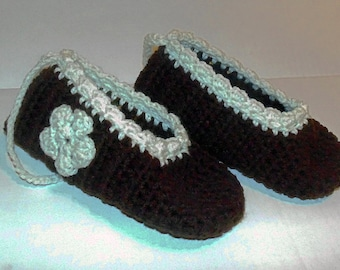 Womans Crochet Slippers, Size 9 Shoes, Crochet Womans Shoes, Crochet Mary Janes, Brown and Cream