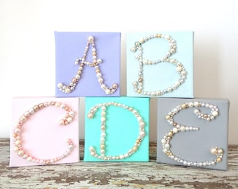 Personalized Art Canvas - Monogram Letter Wall Hanging - Nursery Initial Decor - Glitter Picture - 3d Art - Pearl Bead Mosaic - Baby Name