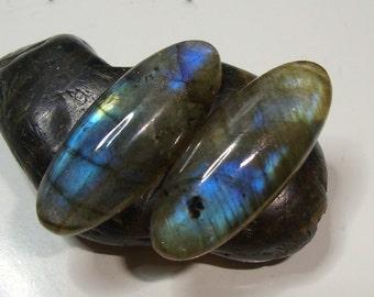 Blue Flash Labradorite Smooth Elongated Oval Cabochon 25x10mm - j30-4