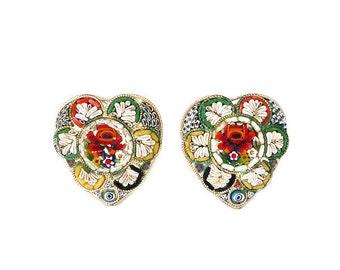 Micromosaic Heart Earrings - Italian Micro Mosaic, Made in Italy, Heart Shape, Silver Tone, Red Green, Vintage Earrings, Vintage Jewelry
