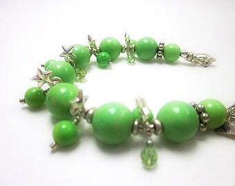 Lime Bracelet -- Green Turquoise Bracelet -- Lime & Silver Bracelet -- Lime Bead Bracelet -- Mantra Bracelet -- Bright Green Bracelet