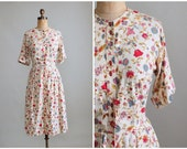 SALE!  Vintage 1960s Dress : 50s 60s Floral Print Shirtwaist Day Dress