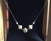 White Off-White Cream Nerdy Dice and Pearls Silver Necklace
