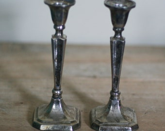 vintage silver plate candle holders  set of two