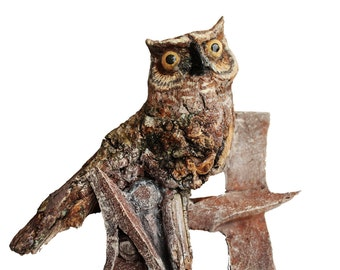 Owl Woodling Original Woodland Owl Spirit Rick Cain US Artist  Wall Hanging Wood Carving Sculpture