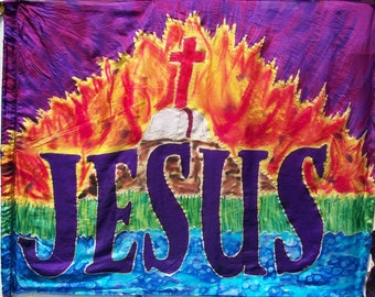 Jesus Silk Prophetic Worship Flag, Hand Dyed Painted