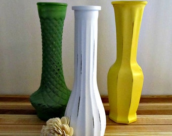 Upcycled Glass Vases - Set of 3 - Yellow, Green and White - Vintage, Painted, Distressed, Rustic, Instant Collection, Fall Home Decor