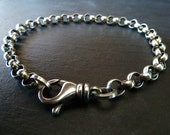 Mens Sterling Silver Bracelet Large Link Chain, Men's Jewelry, Gift for Him