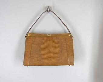 vintage 1960s faux lizard bag / Kelly style handbag with reptile skin look