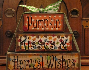 Fall Decor, Fall Sign - Pumpkin Kisses and Harvest Wishes,  Word Blocks Sign