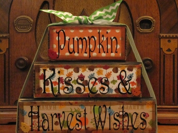 Fall Decor, Fall Sign - Pumpkin Kisses and Harvest Wishes, Word Blocks ...