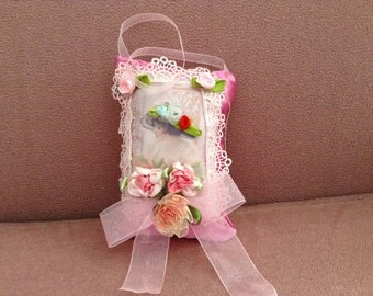 7 inch lavender scented sachet with image of Victorian lady with flowered hat