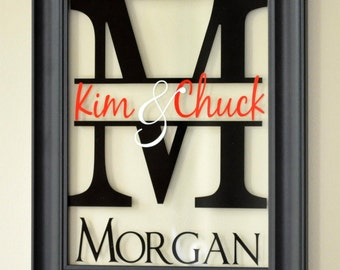 Personalized Glass Family Name Sign Picture Frame Wall Sign 13x16 overall size