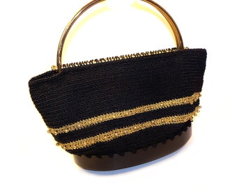 SALE Vintage Gold & Black Ribbon Purse with Gold Handles and Gold Beads Pocketbook