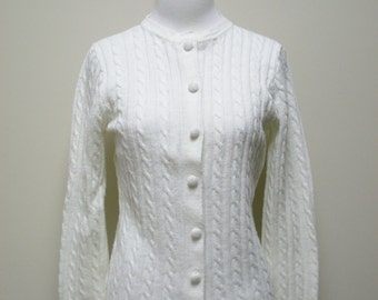 VINTAGE Ivory BRITISH VOGUE Acrylic Cable Cardigan Sweater Size S