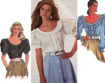 80s Peasant Blouse Pattern Simplicity 8498 Ruffled Romantic Steampunk Sewing Pattern Size 10 12 14 Bust 32 34 36 inches UNCUT Factory Folds