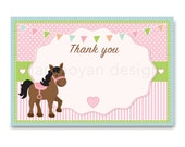 PRINTABLE Horse Cute Pony  Baby Horse Pink Green Thank You Card   - Instant Download