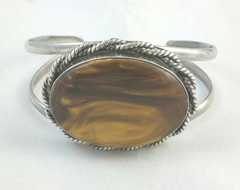 Silver Large Tigers Eye Cuff Bracelet Signed Mexico TP-51 .928