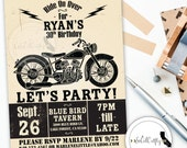 Motorcycle Birthday Party Invitation, Poster, Vintage, Typography, Black And Off-White, Printable, DIY, Digital or Printed Invitation