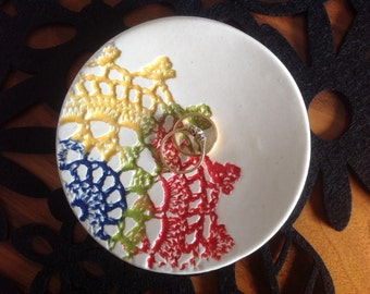 Rainbow Dish, ceramic pottery dressing table jewellery keeper snacks nibbles plate