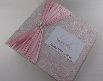 Wedding Photo Album Personalized Engagement Photo Album custom Bridal shower Gift 4x6 5x7 8x10 picture album Pink Ivory lace