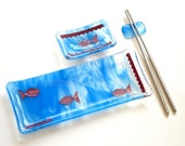 Fish Sushi Set Fused Glass Plate Blue Copper Fish HandmadeFused Glass