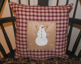 UNSTUFFED Snowman Pillow COVER Primitive Country Christmas Decoration Gift  Idea Red Rustic Holiday Americana Home Decor