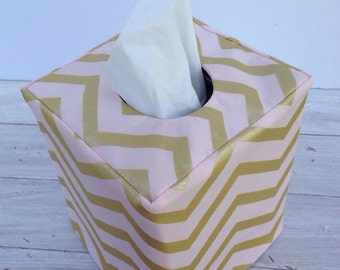 Pink and gold chevron tissue box cover