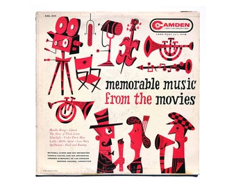 "Jim Flora record album design, 1956. ""Memorable Music from the Movies"" LP (magenta colorway)"