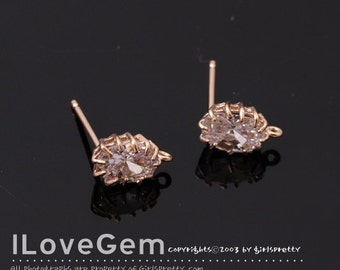 NP-1566 Rose Gold plated, Oval CZ. Earrings, 925 sterling silver post, 2pcs / Rose gold earrings