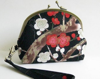 Double Frame Wristlet in Black with Red and White Cherry Blossoms