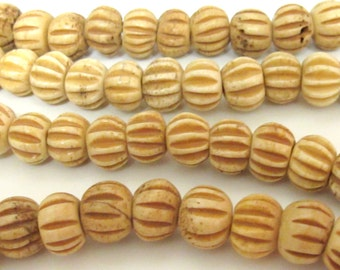 10 BEADS - Carved melon shape Tibetan bone beads supply 11 - 12 mm size  - ML026