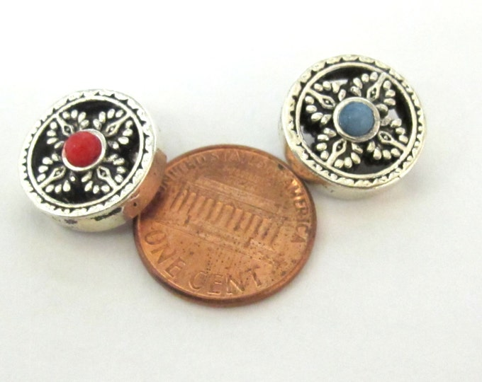 2 BEADS - Reversible Double dorje symbol silver tone plated round disc beads for mala making 15 mm - BD769