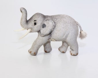 Flocked Elephant Toy by Wagner Handwork - Kunstlerschutz - West Germany