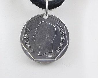 Venezuela Coin Necklace, 10 Bolivares, Coin Pendant, Leather Cord, Mens Necklace, Womens Necklace, 2002