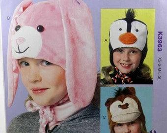 Kwik Sew 3963, Child's Hats Pattern, Children's, Penquin, Bunny and Monkey Hats Pattern, Sewing Pattern, Sizes XS, S, M, L, Xl, New - Uncut
