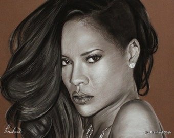 Rihanna Portrait - Charcoal and Pastel Drawing *PRINT* - Music - Hip Hop - Wall Decor