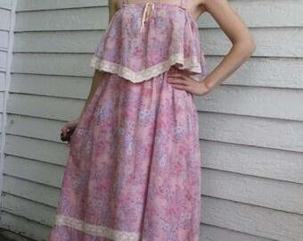 Pink Hippie Maxi Dress Long Summer 70s Vintage Floral Print 1970s S XS