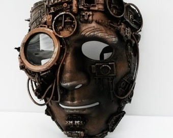 steampunk mask with large bionic eye