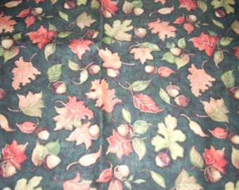 "Fall - Leaves and Acorns on dark green -  Cotton fabric -  43"" wide - sold by the yard"