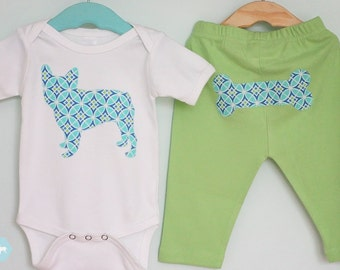 French Bulldog one-piece bodysuit and pant set in aqua and lime green